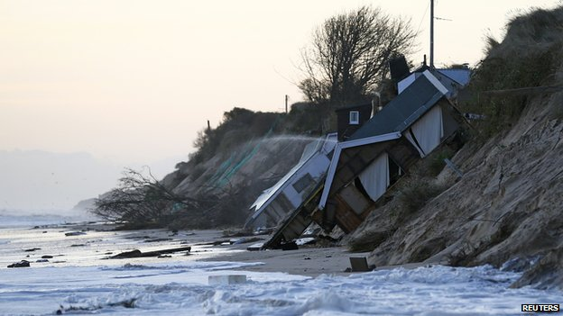 Collapsed house at Hemsby, UK