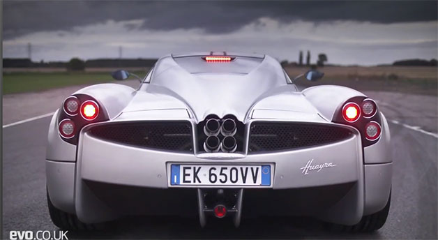 EVO video - 2012 Car of the Year: The Track Battles - rear of Pagani Huayra