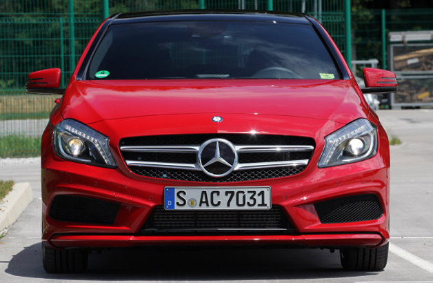Mercedes-Benz A-Class - front dead-on view, red