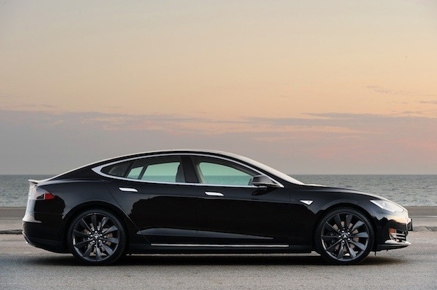 Tesla Model S by the ocean